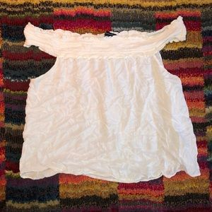 American Eagle White Off-The-Shoulder Top